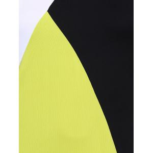 Tank Color Block Casual Daytime Dress Outfit - YELLOW AND BLACK XL