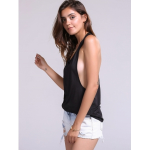 Backless Fropped Armhole Tank Top - BLACK M
