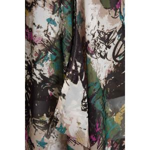 Graffiti Print Plus Size Chiffon Tunic Shirt - COLORMIX ONE SIZE