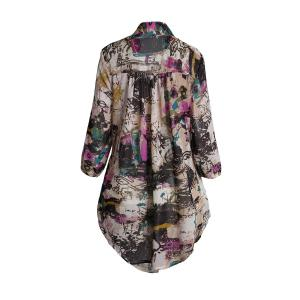 Graffiti Print Plus Size Chiffon Tunic Shirt -
