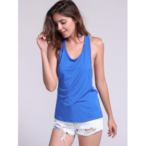 Backless Fropped Armhole Tank Top - SAPPHIRE BLUE M