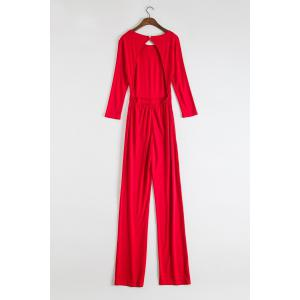 Stylish Round Neck 3/4 Sleeve Backless Wide Leg Women's Red Jumpsuit -
