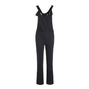 Stylish Adjustable Straps Pockets Solid Color Overalls For Women