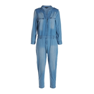 Stylish V Neck Long Sleeve Blue Denim Women's Jumpsuit - Blue - L
