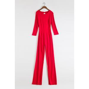 Stylish Round Neck 3/4 Sleeve Backless Wide Leg Women's Red Jumpsuit