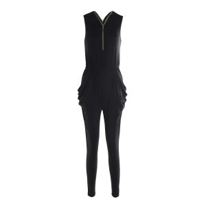 Stylish Plunging Neck Sleeveless Zipper and Pocket Design Women's Black Jumpsuit