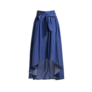 Stylish High-Waisted Bowknot High Low Hem Women's Long Skirt