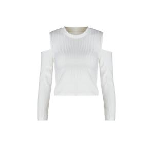 Stylish Round Neck Long Sleeve White Knit Women's Crop Top