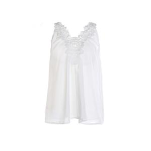 Stylish Round Neck Lace Spliced Loose-Fitting Women's Chiffon Tank Top