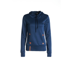 Stylish Hooded Long Sleeves Solid Color Drawstring Embroidery Print Women's Hoodie - Deep Blue - S