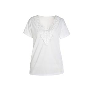 Casual V-Neck Short Sleeve Lace Spliced Women's White T-Shirt