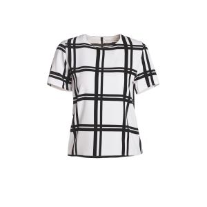Sweet Round Neck Short Sleeve Plaid Women's Chiffon T-Shirt