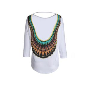 Stylish Round Neck 3/4 Sleeve Open Back Women's T-Shirt
