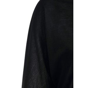 Long Sleeve Scrunch Tunic Sweater - BLACK M