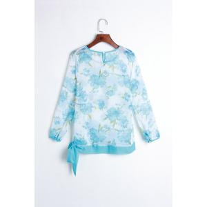 Women's Floral Print Pattern Chiffon Casual Puff Long Sleeve Tops Blouses Shirt -