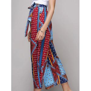 Chic Women's Belted Ethnic Print Palazzo Pants -
