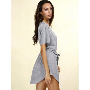 Casual Short Sleeve Round Neck Self-Tie Women's Dress -