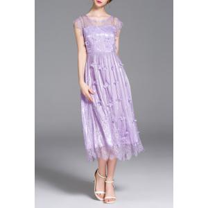 3D Petal Spliced Solid Color Dress -