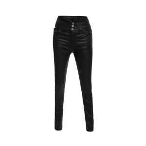 Brief Buttoned Black PU Leather Pants For Women