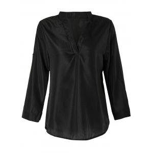 Stylish V Neck 3/4 Sleeve Pure Color Chiffon Women's Blouse
