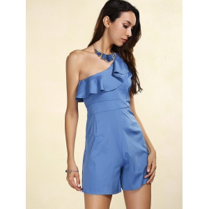 Stylish Skew Neck Flounced Solid Color Women's Romper -