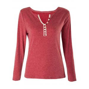Casual V-Neck Long Sleeve Button Design Women's T-Shirt