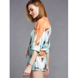 Fashionable Plunging Neck 3/4 Sleeve Printed Women's Romper -