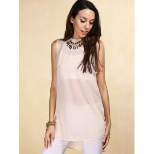 Sheer High-Low Slit Sleeveless Chiffon Blouse - OFF WHITE S