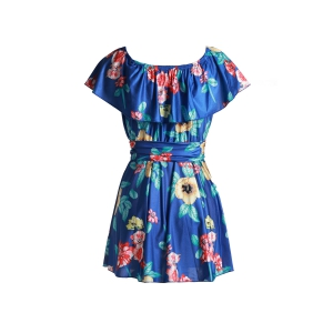 Sweet Off-The-Shoulder Flounce Floral Printed Mini Dress For Women - Sapphire Blue - S