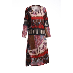 Stylish Scoop Neck Ethnic Print Loose-Fitting Long Sleeve Dress For Women