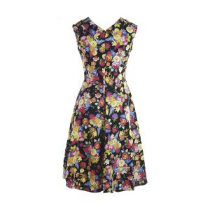 Sweet Style Sweetheart Neck Sleeveless Floral Print Women's Dress - COLORMIX M