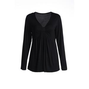 Casual V-Neck Solid Color Slimming Long Sleeve T-Shirt For Women