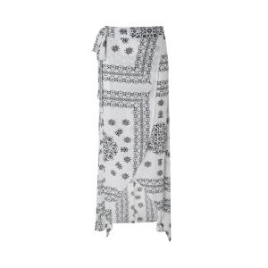Geometric Printed Handkerchief Slit Maxi Skirt