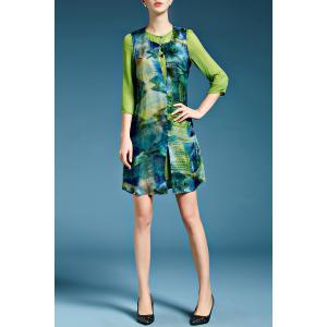 Fish Print Faux Twinset Dress in Green -