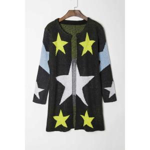 Fashionable Round Collar Star Pattern Long Sleeve Cardigan For Women