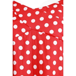 Retro Sweetheart Neck Cap Sleeve Polka Dot Women's Dress - RED M