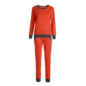 Casual Round Collar Long Sleeve Color Block Pocket Design Women's Activewear Suit