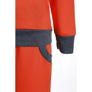 Casual Col rond Activewear de manches longues Color Block de poche design Femmes Suit - Tangerine L