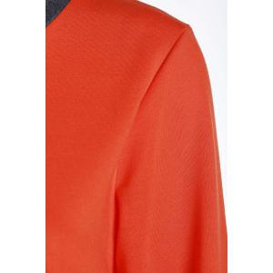 Casual Col rond Activewear de manches longues Color Block de poche design Femmes Suit - Tangerine XL