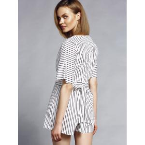 Trendy Plunging Neck Short Sleeve Striped Women's Romper -