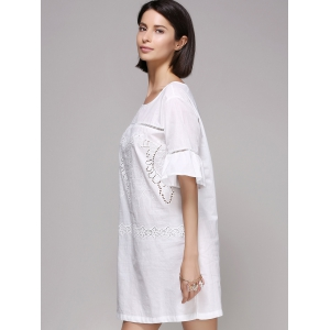 Chic Women's Flare Sleeve Embroidery Dress -