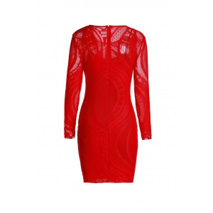 See Thru Long Sleeve Mini Sheath Dress - RED ONE SIZE(FIT SIZE XS TO M)