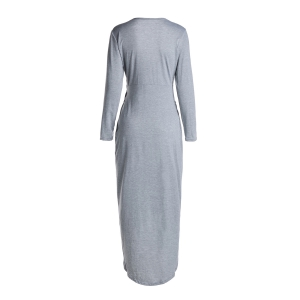 Sexy Style Plunging Neck Cross High Split Long Sleeve Dress For Women - LIGHT GRAY S