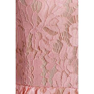 Strapless Midi Lace Mesh Panel Prom Dress - PINK L