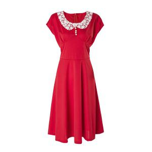 Vintage Peter Pan Collar Cap Sleeve Lace Crochet Women's Dress - Red - M