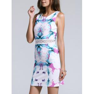 Sweet Sleeveless Hollow Out Waist Floral Print Women's Dress - White - S