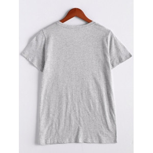 Casual Printed Tee For Women - GRAY XL