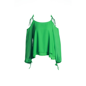 Sexy Spaghetti Strap Long Sleeve Green Hollow Out Women's Chiffon Blouse