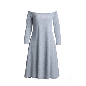 Sexy Slash Neck Gray Long Sleeve Dress For Women