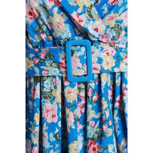 Vintage Shawl Collar 3/4 Sleeve Full Tiny Floral Print With Belt Women's Dress -